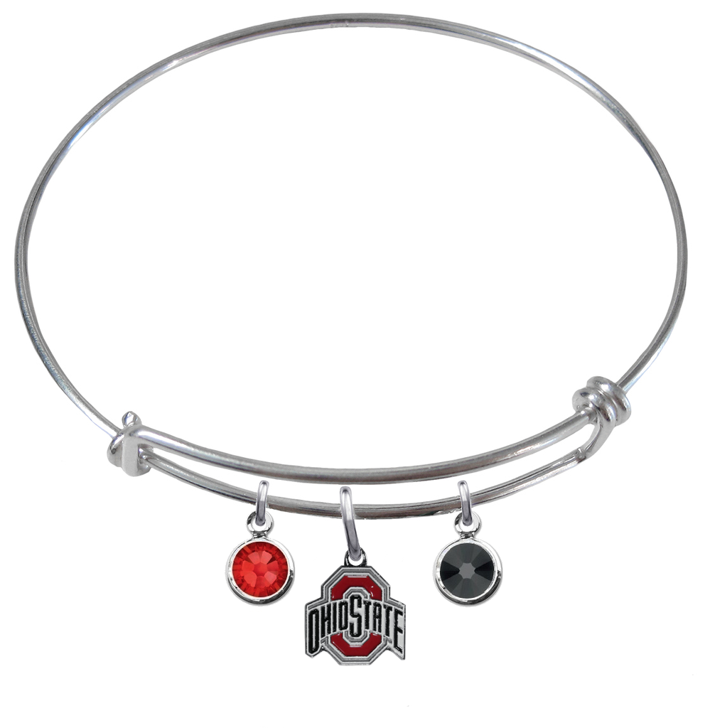 Ohio State Buckeyes NCAA Expandable Wire Bangle Charm Bracelet