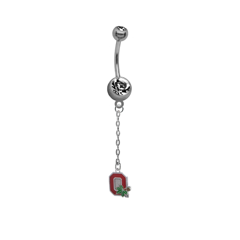 Ohio State Buckeyes Style 2 Dangle Chain Belly Button Navel Ring