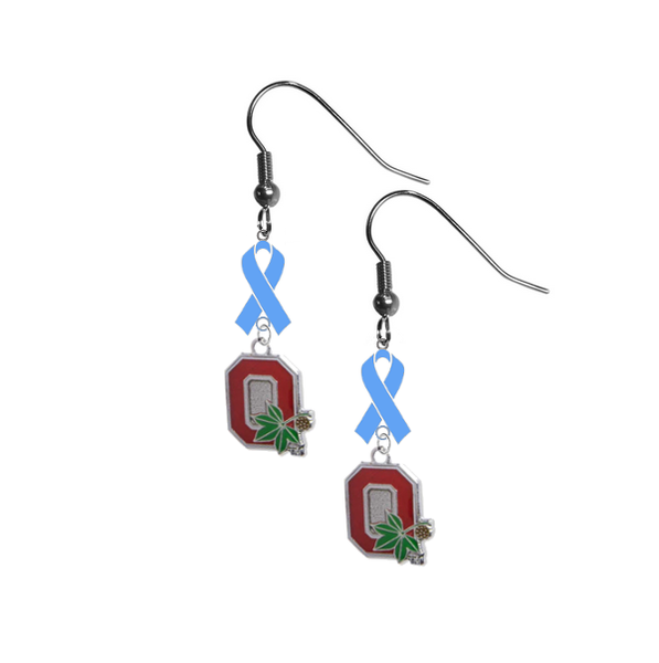 Ohio State Buckeyes Style 2 Prostate Cancer Awareness Light Blue Ribbon Dangle Earrings
