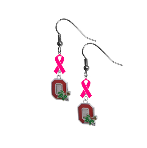 Ohio State Buckeyes Style 2 Breast Cancer Awareness Hot Pink Ribbon Dangle Earrings