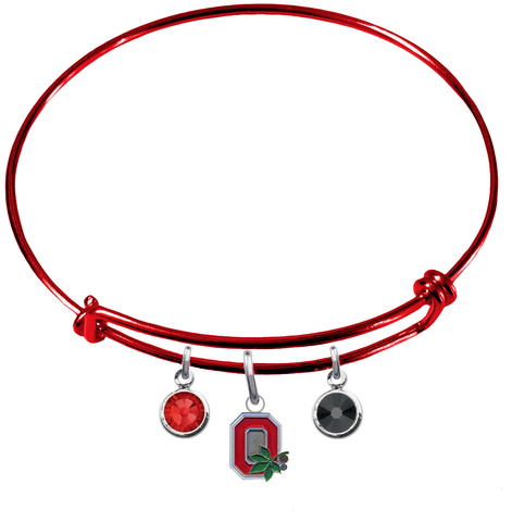 Ohio State Buckeyes Style 2 RED Color Edition Expandable Wire Bangle Charm Bracelet