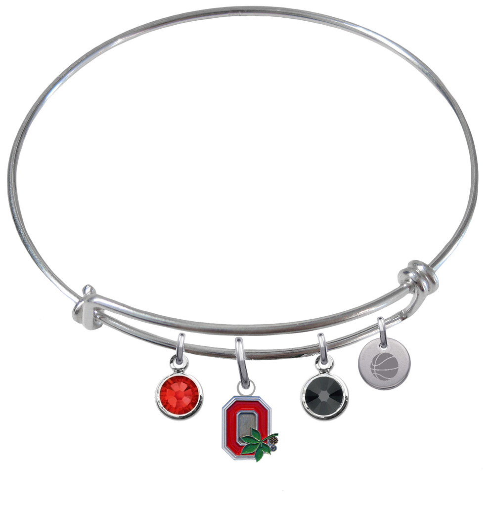 Ohio State Buckeyes Style 2 Basketball Expandable Wire Bangle Charm Bracelet