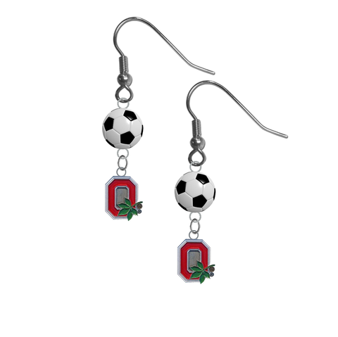 Ohio State Buckeyes Style 2 NCAA Soccer Dangle Earrings