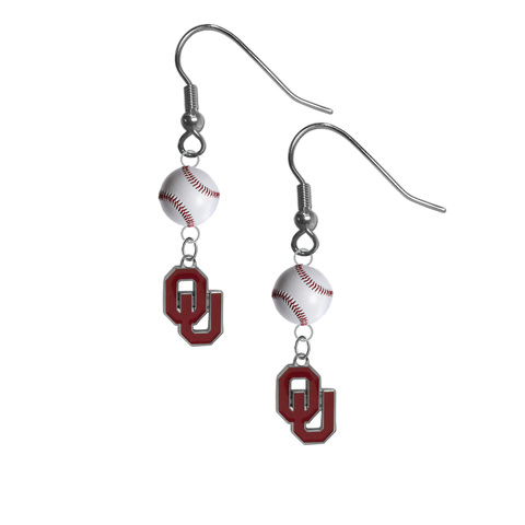 Oklahoma Sooners NCAA Baseball Dangle Earrings