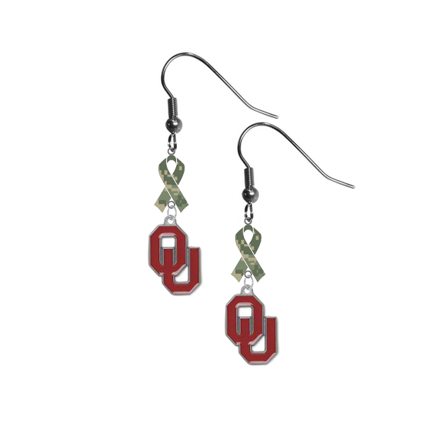 Oklahoma Sooners Salute to Service Camouflage Camo Ribbon Dangle Earrings