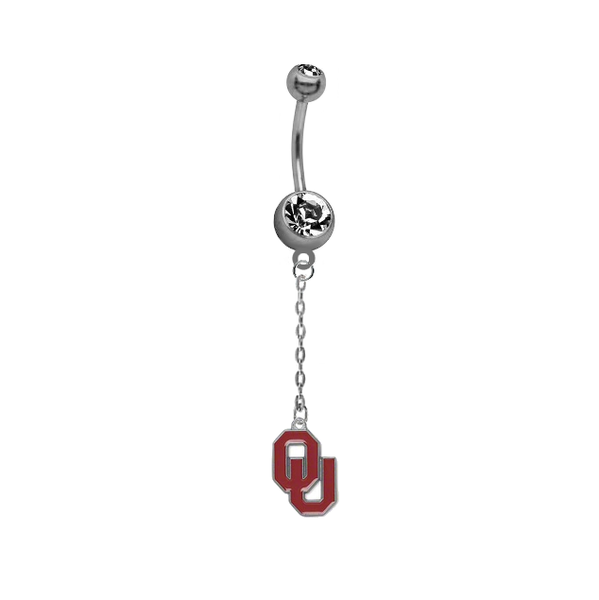Oklahoma Sooners Dangle Chain Belly Button Navel Ring