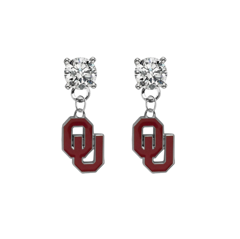 Oklahoma Sooners CLEAR Swarovski Crystal Stud Rhinestone Earrings
