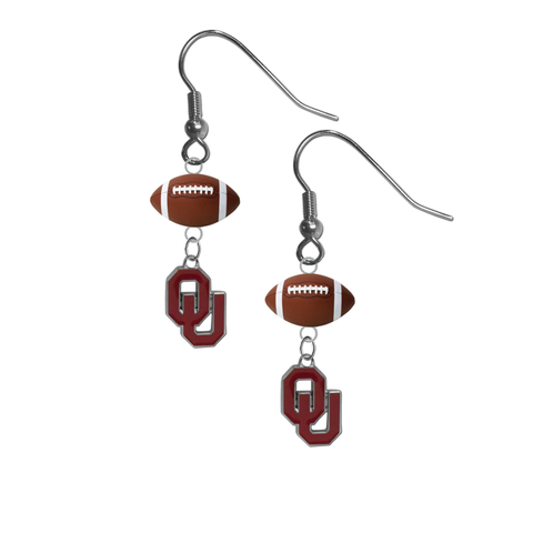 Oklahoma Sooners NCAA Football Dangle Earrings