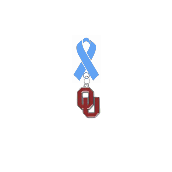 Oklahoma Sooners Prostate Cancer Awareness / Fathers Day Light Blue Ribbon Lapel Pin
