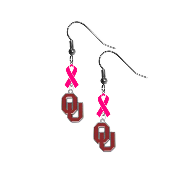 Oklahoma Sooners Breast Cancer Awareness Hot Pink Ribbon Dangle Earrings