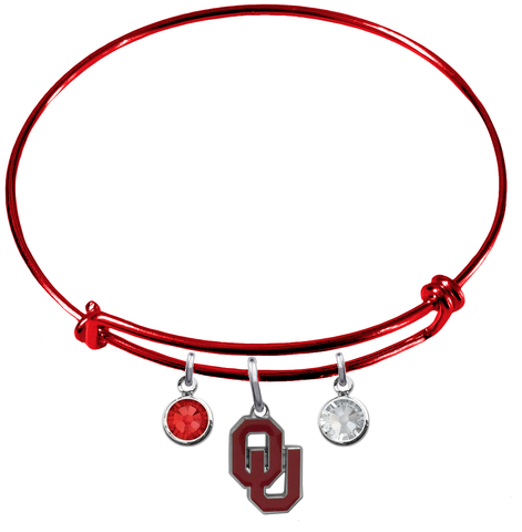 Oklahoma Sooners RED Color Edition Expandable Wire Bangle Charm Bracelet