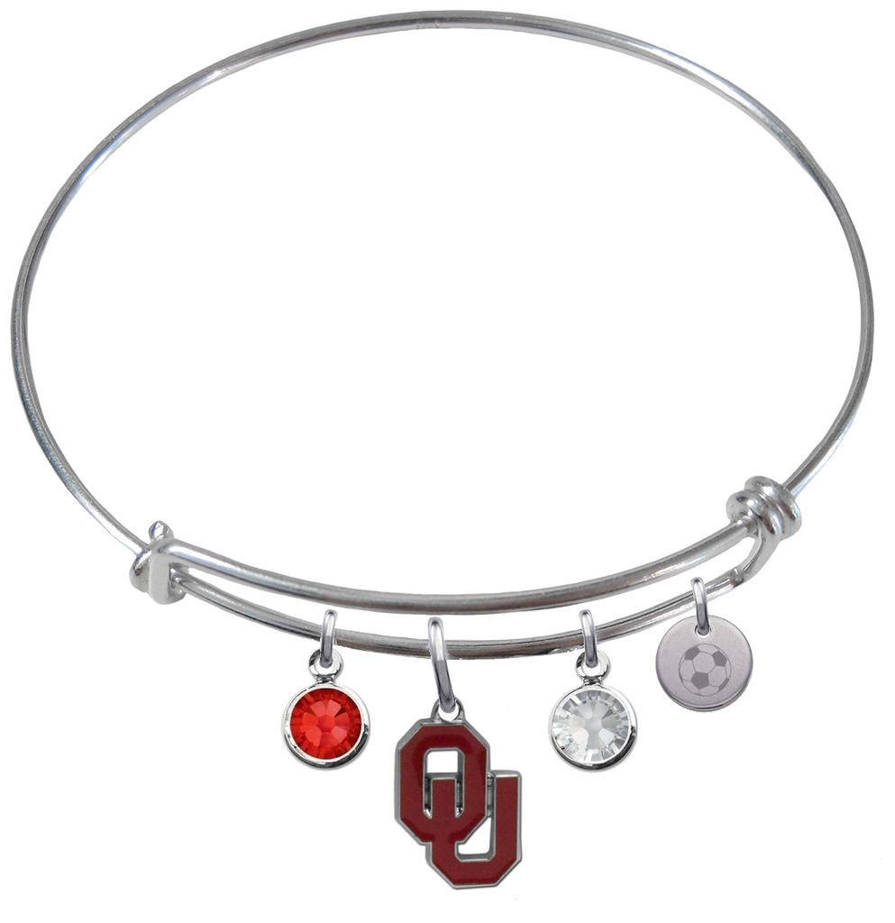 Oklahoma Sooners Soccer Expandable Wire Bangle Charm Bracelet