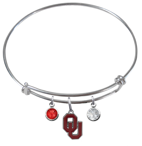 Oklahoma Sooners NCAA Expandable Wire Bangle Charm Bracelet