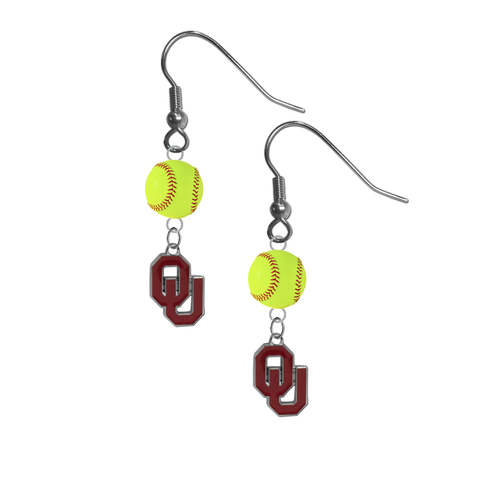 Oklahoma Sooners NCAA Fastpitch Softball Dangle Earrings