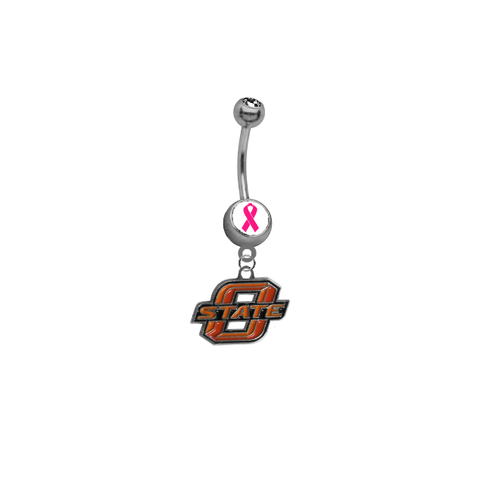 Oklahoma State Cowboys Breast Cancer Awareness Belly Button Navel Ring