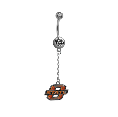 Oklahoma State Cowboys Dangle Chain Belly Button Navel Ring