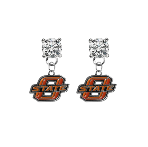 Oklahoma State Cowboys CLEAR Swarovski Crystal Stud Rhinestone Earrings