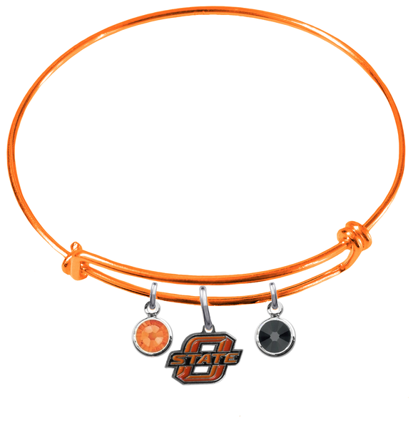 Oklahoma State Cowboys ORANGE Expandable Wire Bangle Charm Bracelet
