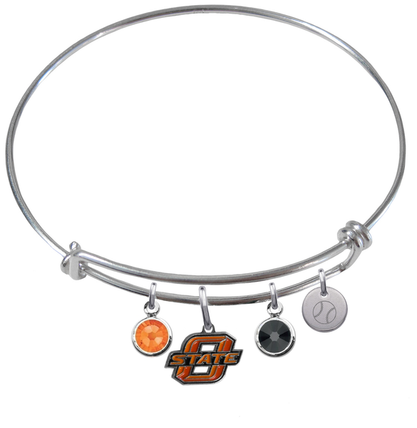 Oklahoma State Cowboys Baseball Expandable Wire Bangle Charm Bracelet