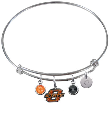 Oklahoma State Cowboys Football Expandable Wire Bangle Charm Bracelet
