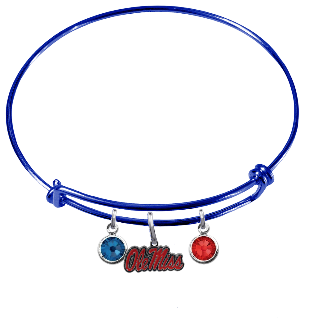 Ole Miss Rebels BLUE Color Edition Expandable Wire Bangle Charm Bracelet