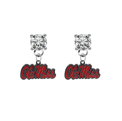 Ole Miss Mississippi Rebels CLEAR Swarovski Crystal Stud Rhinestone Earrings