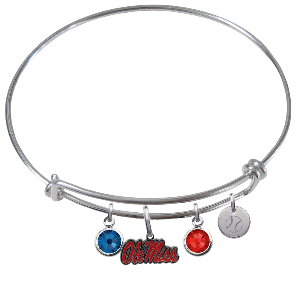 Ole Miss Mississippi Rebels Baseball Expandable Wire Bangle Charm Bracelet