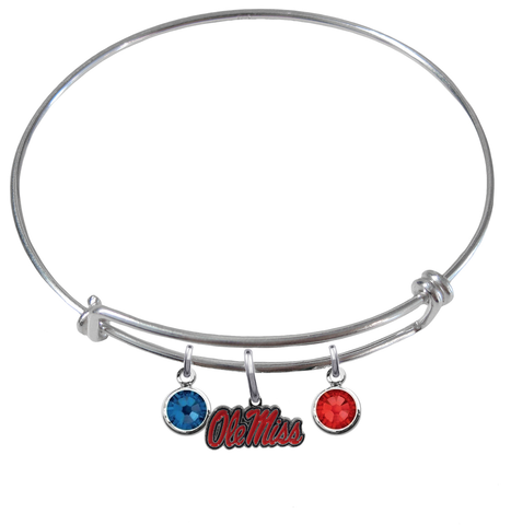 Ole Miss Rebels NCAA Expandable Wire Bangle Charm Bracelet