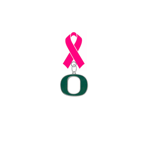 Oregon Ducks Breast Cancer Awareness / Mothers Day Pink Ribbon Lapel Pin