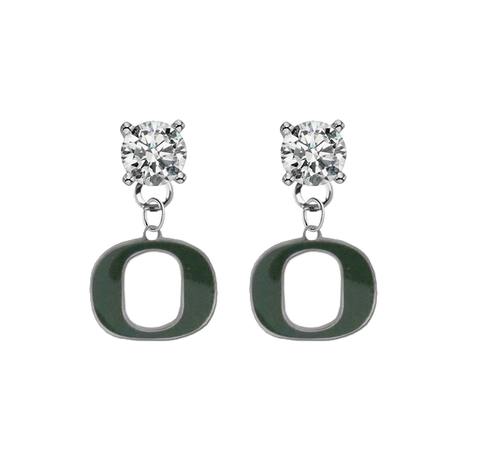 Oregon Ducks CLEAR Swarovski Crystal Stud Rhinestone Earrings