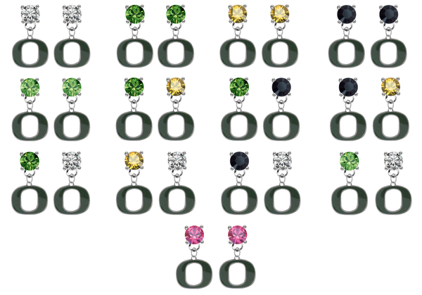 Oregon Ducks NCAA Swarovski Crystal Stud Rhinestone Earrings