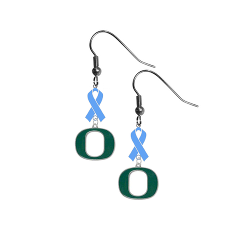 Oregon Ducks Prostate Cancer Awareness Light Blue Ribbon Dangle Earrings