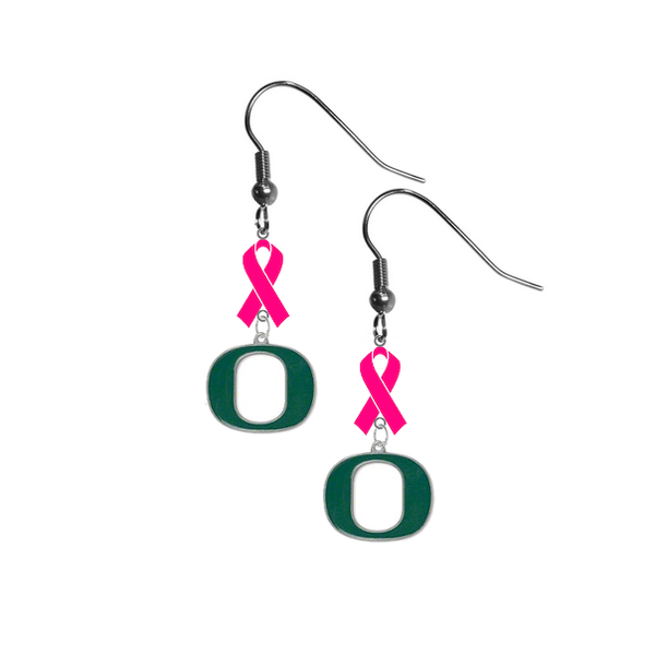 Oregon Ducks Breast Cancer Awareness Hot Pink Ribbon Dangle Earrings