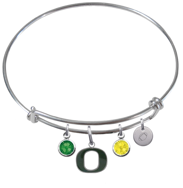 Oregon Ducks Football Expandable Wire Bangle Charm Bracelet
