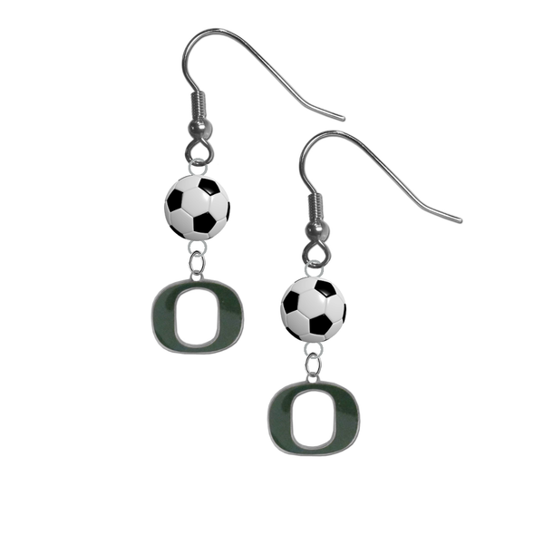 Oregon Ducks NCAA Soccer Dangle Earrings