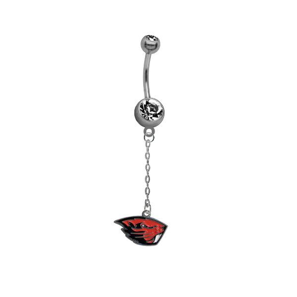 Oregon State Beavers Dangle Chain Belly Button Navel Ring