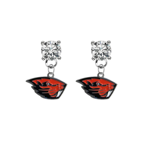 Oregon State Beavers CLEAR Swarovski Crystal Stud Rhinestone Earrings