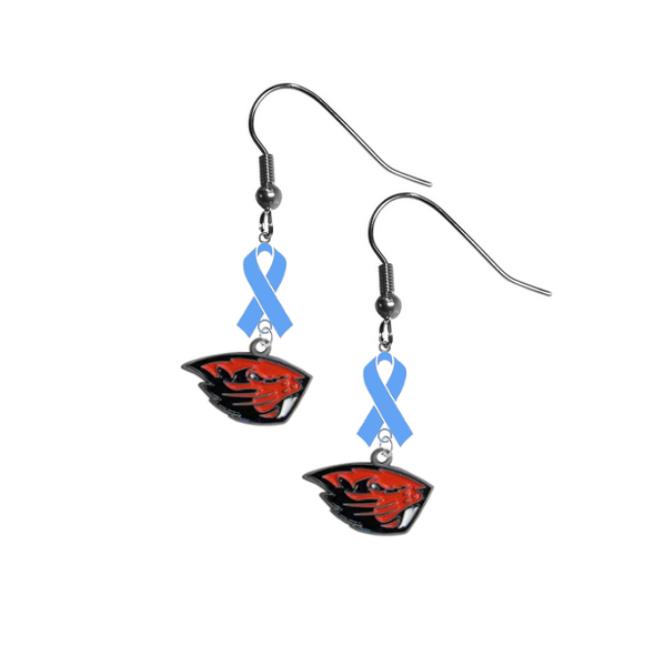 Oregon State Beavers Prostate Cancer Awareness Light Blue Ribbon Dangle Earrings