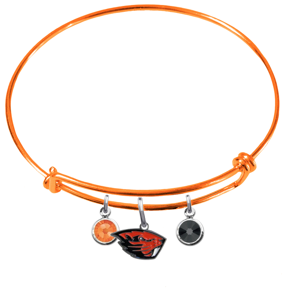 Oregon State Beavers ORANGE Color Edition Expandable Wire Bangle Charm Bracelet