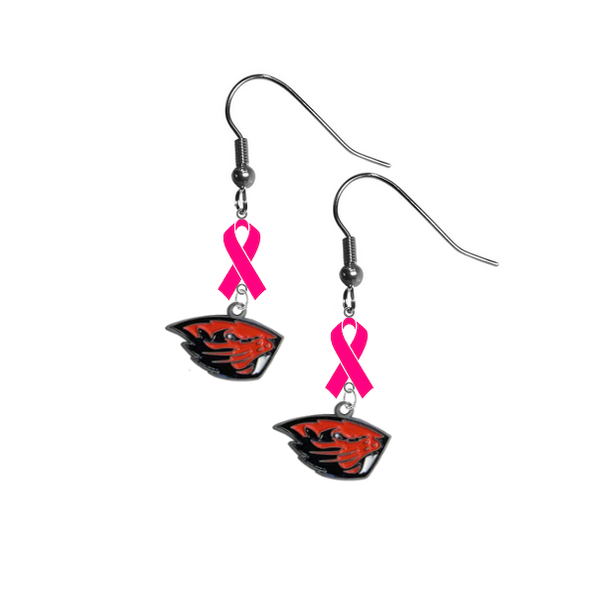Oregon State Beavers Breast Cancer Awareness Hot Pink Ribbon Dangle Earrings