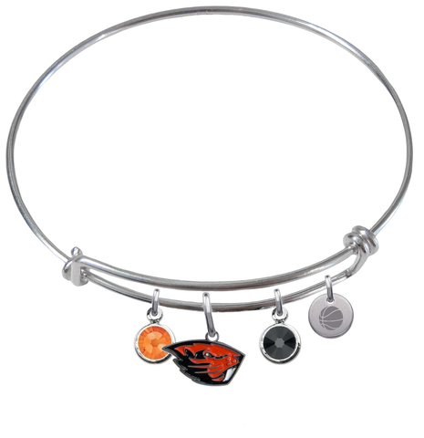 Oregon State Beavers Basketball Expandable Wire Bangle Charm Bracelet