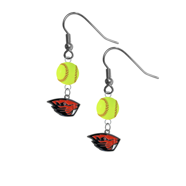 Oregon State Beavers NCAA Fastpitch Softball Dangle Earrings