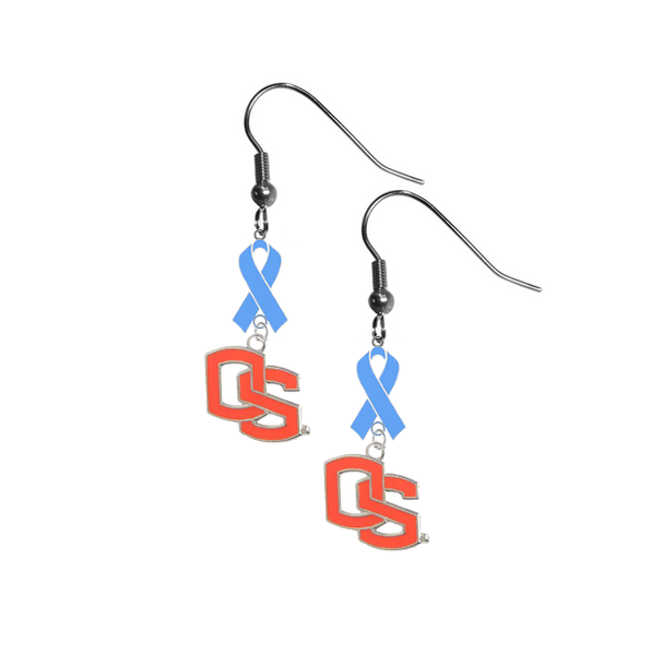 Oregon State Beavers Style 2 Prostate Cancer Awareness Light Blue Ribbon Dangle Earrings