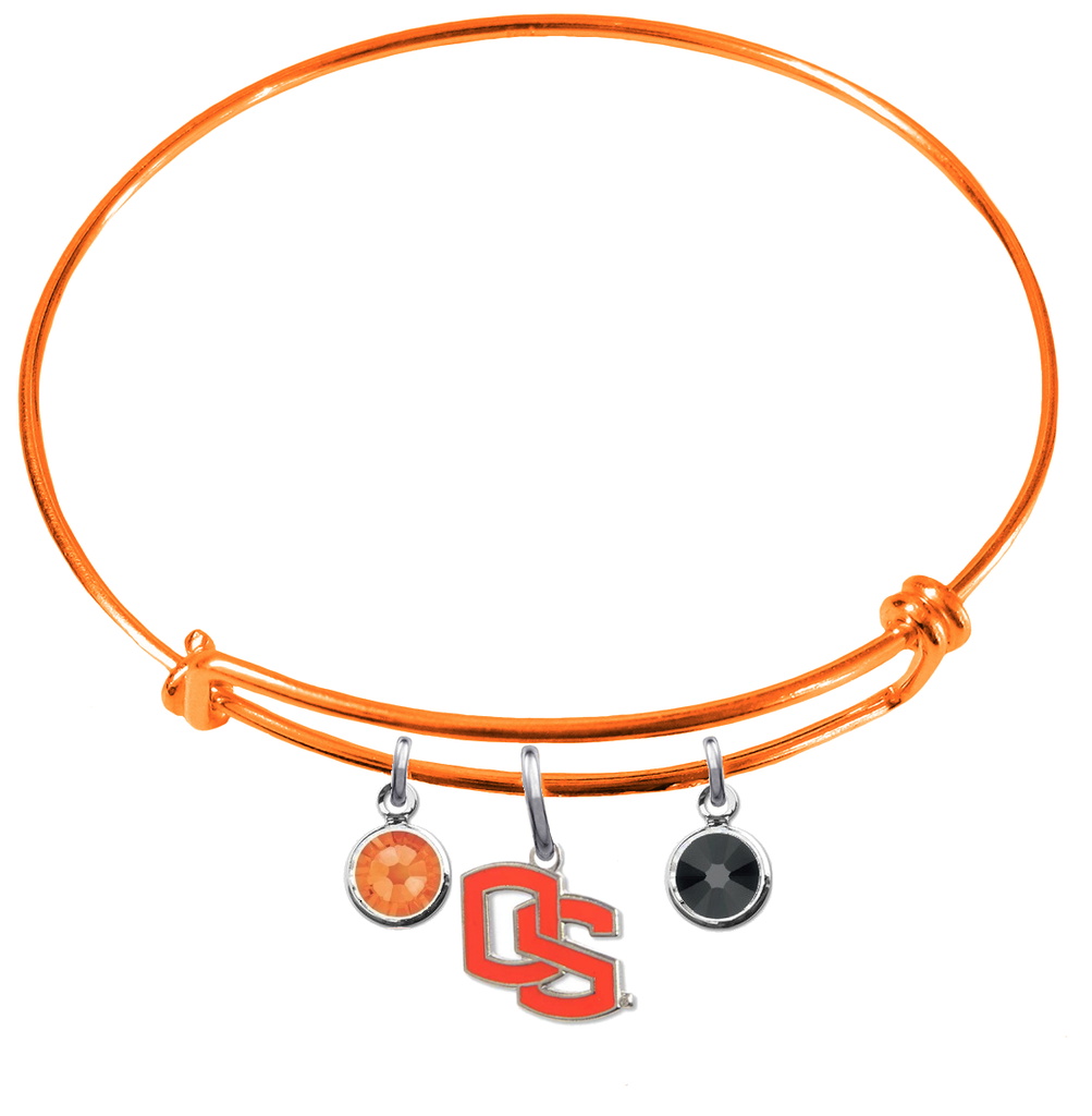 Oregon State Beavers Style 2 ORANGE Color Edition Expandable Wire Bangle Charm Bracelet