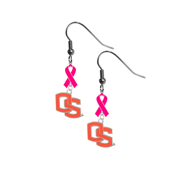 Oregon State Beavers Style 2 Breast Cancer Awareness Hot Pink Ribbon Dangle Earrings