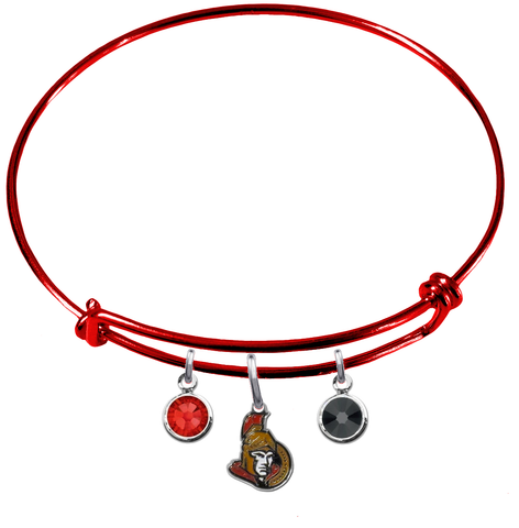 Ottawa Senators Color Edition RED Expandable Wire Bangle Charm Bracelet