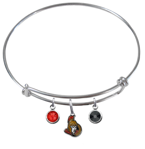 Ottawa Senators NHL Expandable Wire Bangle Charm Bracelet