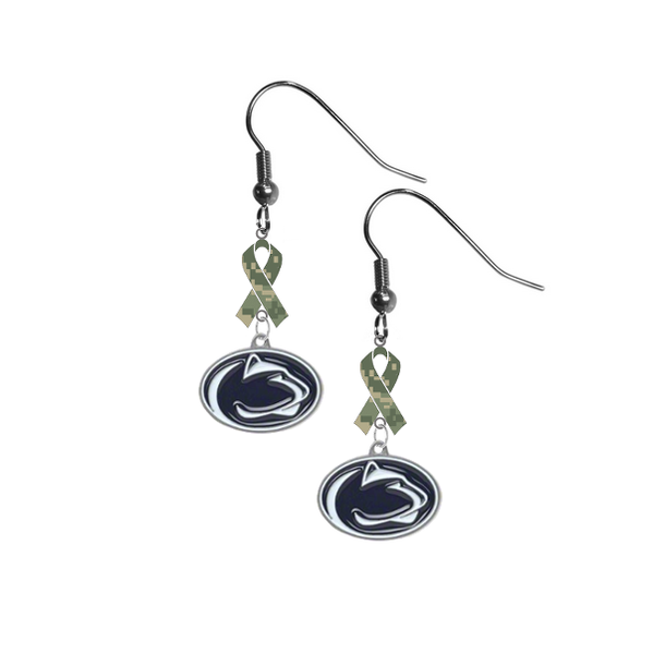 Penn State Nittany Lions Salute to Service Camouflage Camo Ribbon Dangle Earrings