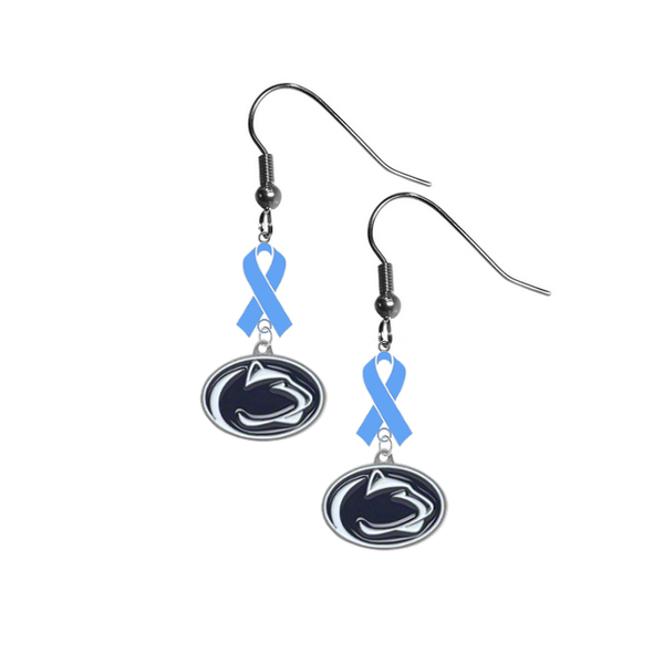 Penn State Nittany Lions Prostate Cancer Awareness Light Blue Ribbon Dangle Earrings