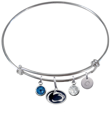 Penn State Nittany Lions Football Expandable Wire Bangle Charm Bracelet
